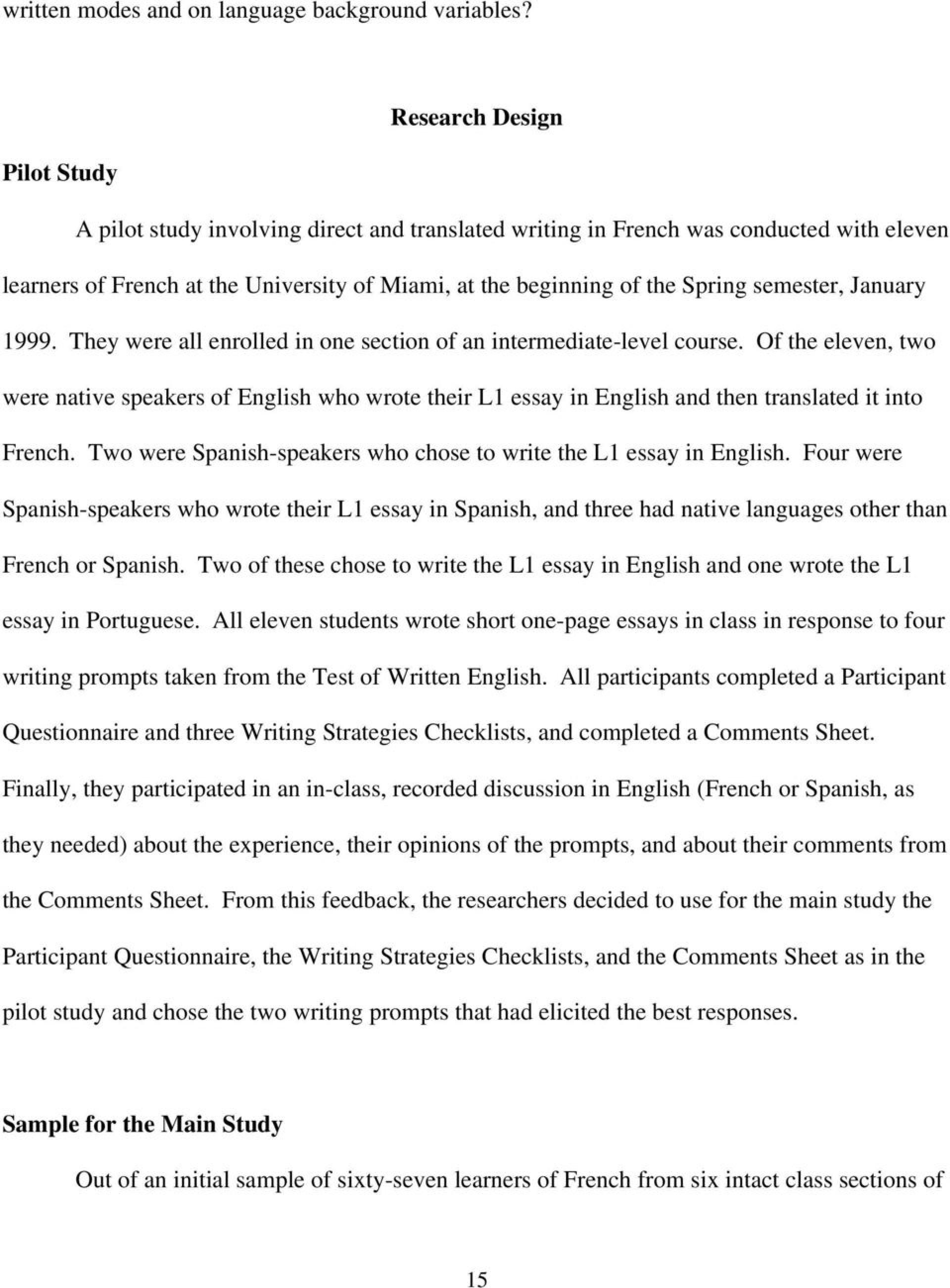 Essay Example In Spanish