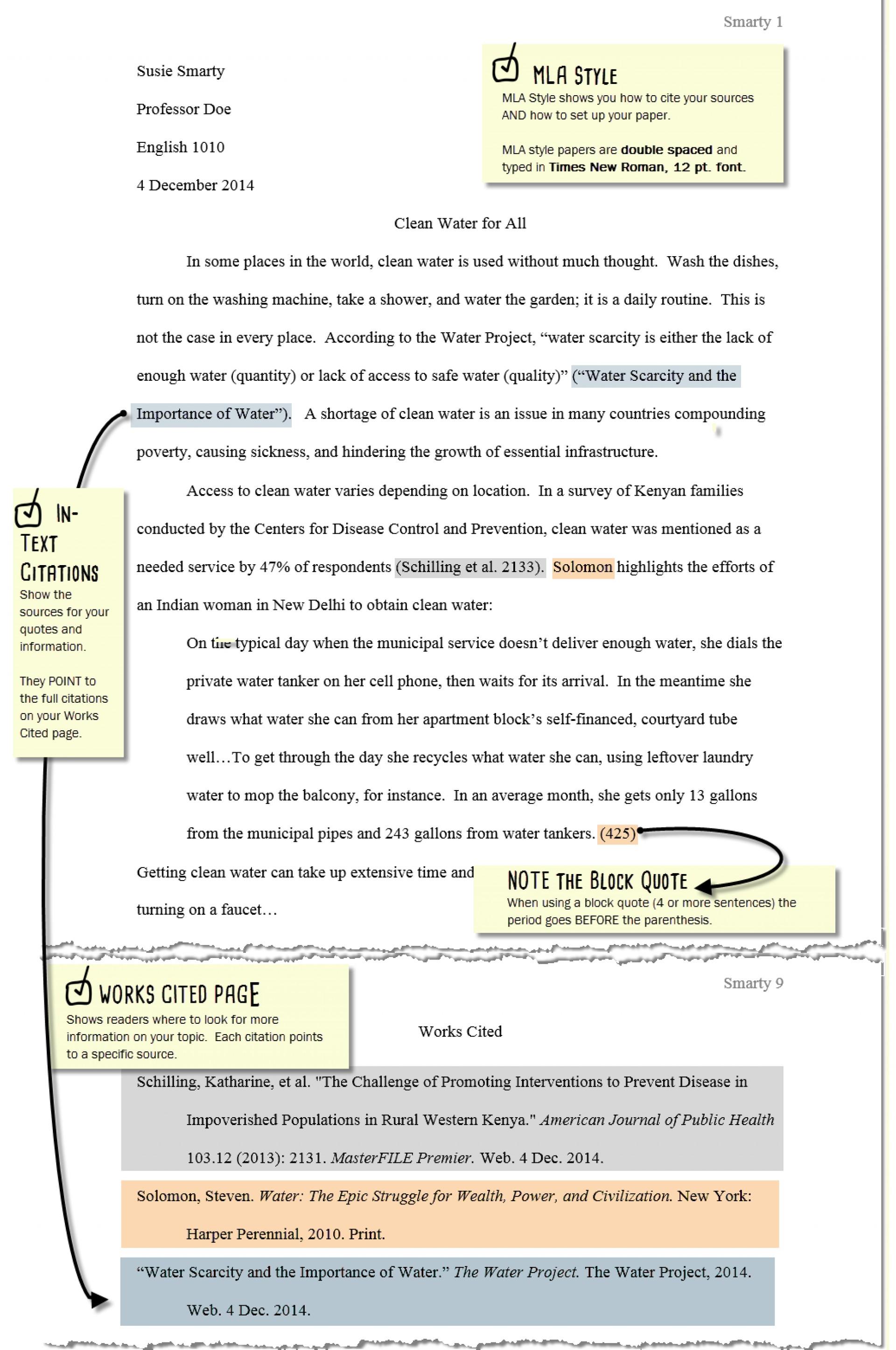 010 Mla Citation Essay For Example Harvard Referencing