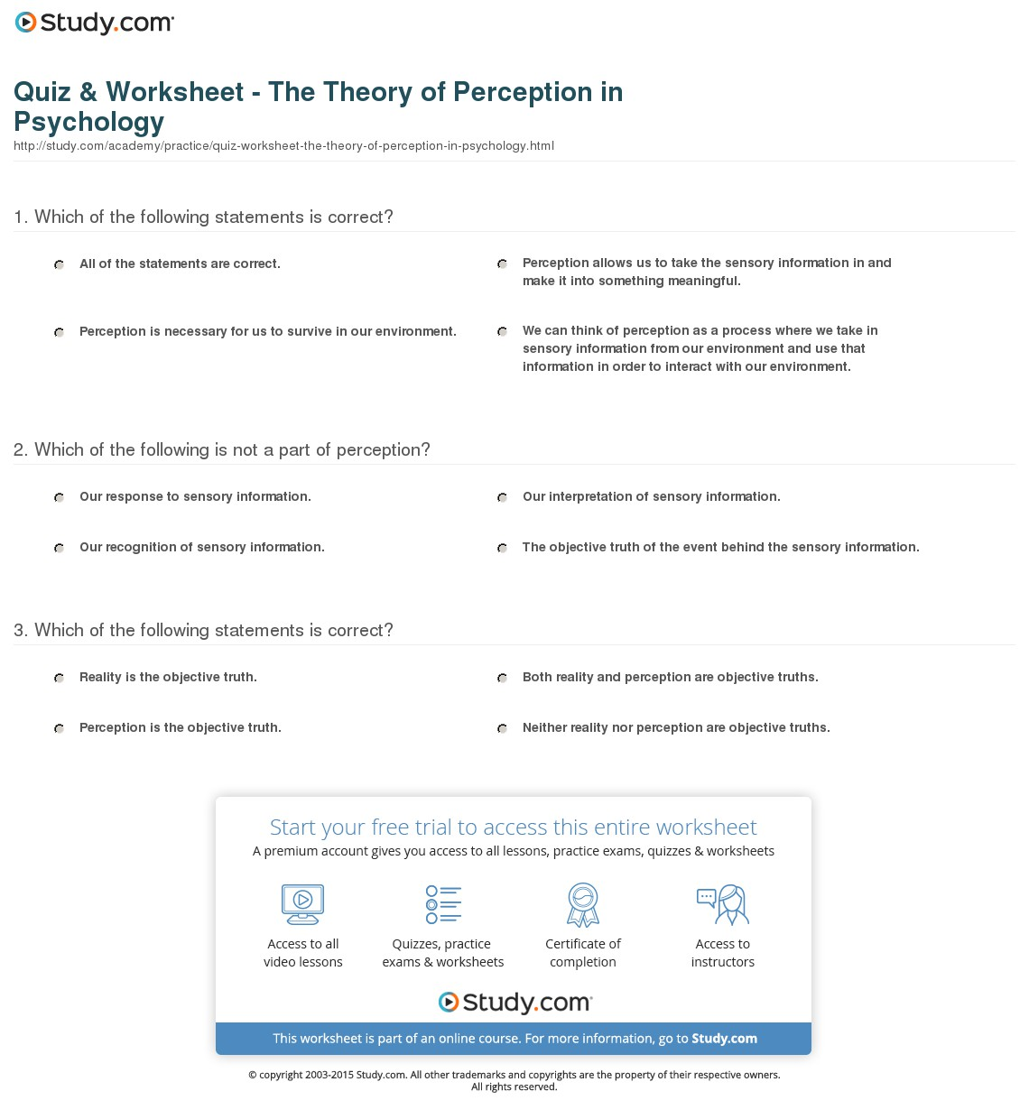003 Perception Essay Quiz Worksheet The Theory Of In