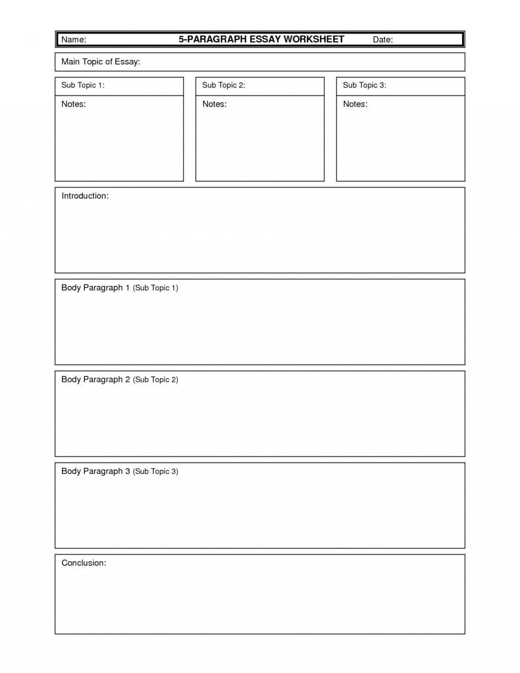 006 Informative Essay Graphic Organizer Example Map