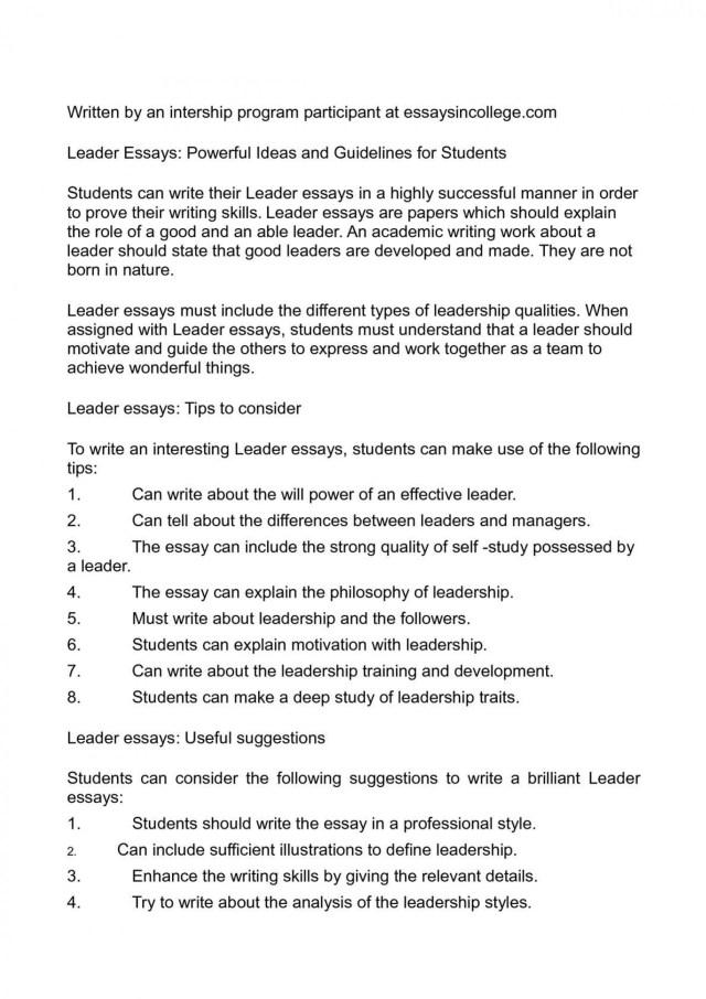 Short Essay On Leadership Qualities | Applydocoument co