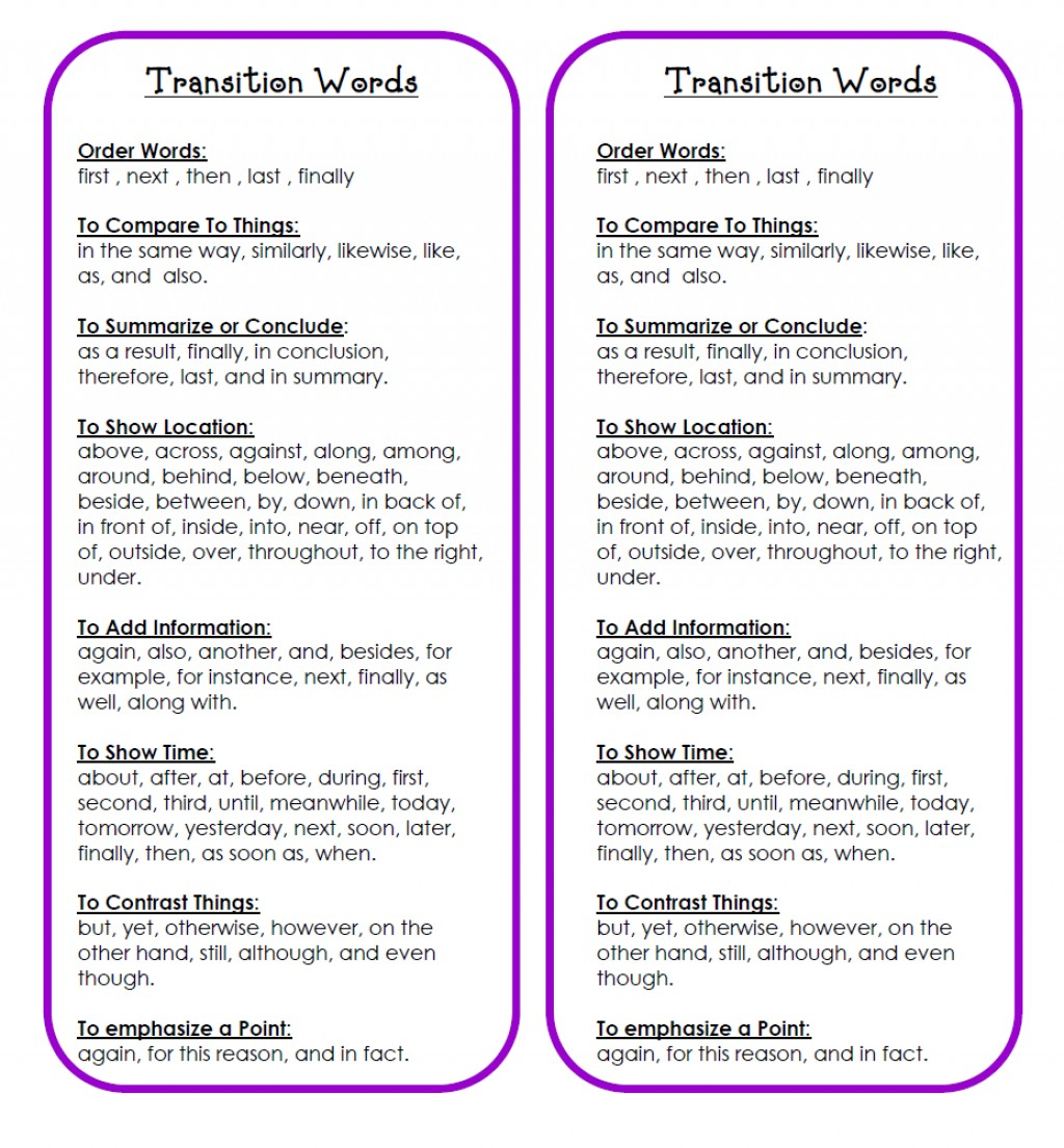 Excellent Transition Words For Compare And Contrast Essay