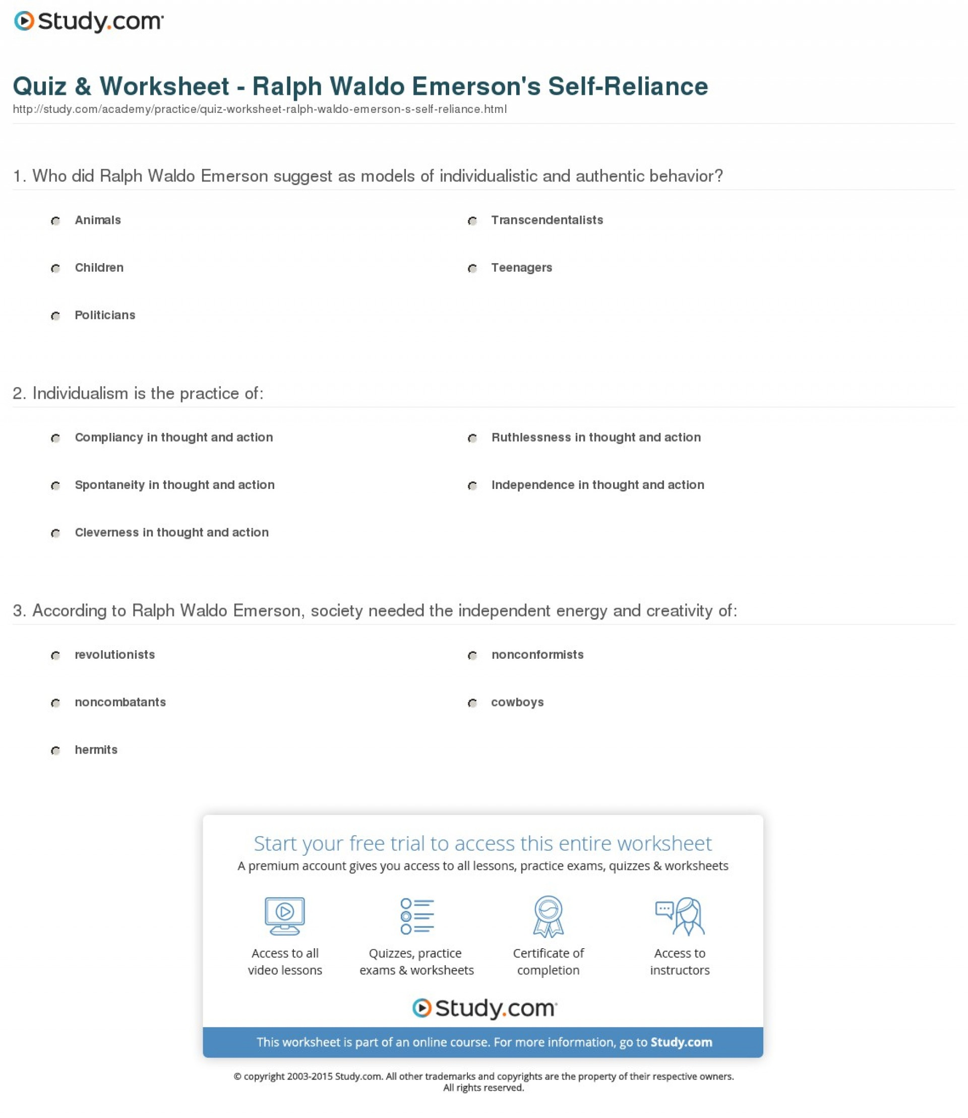 013 Emerson Self Reliance Essay Quiz Worksheet Ralph Waldo