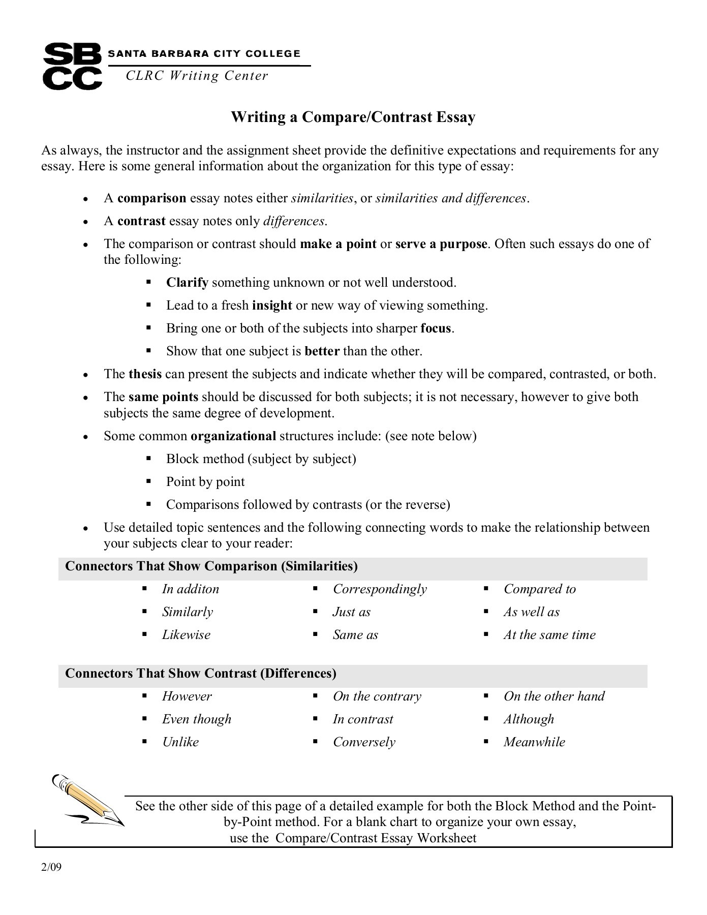 002 Compare And Contrast Essay Sample Thatsnotus