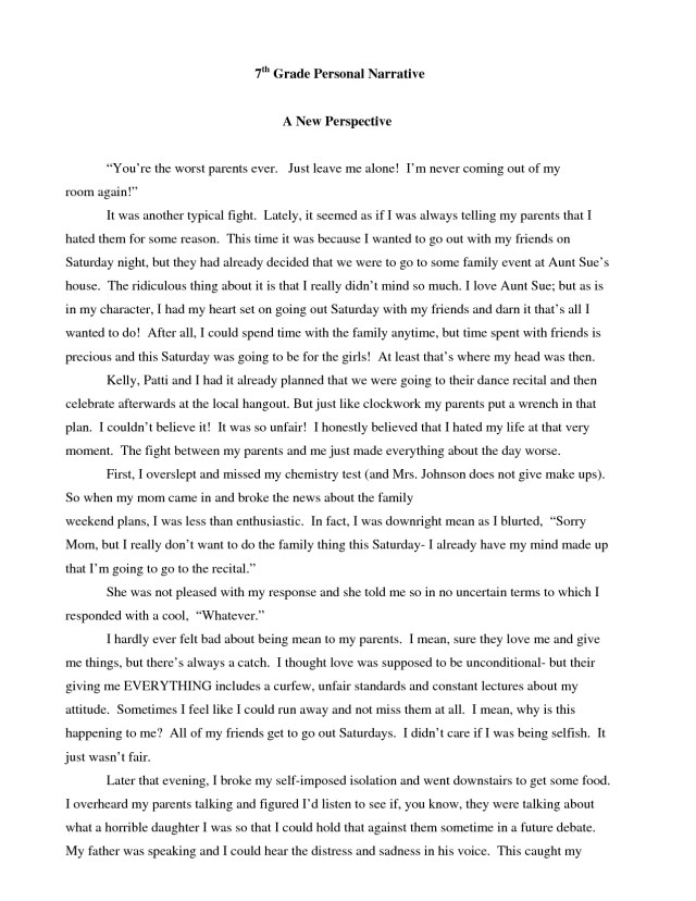 example of narrative essay about personal experience