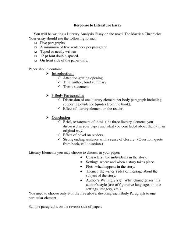 Literary Essay Examples Literary Analysis Essay Example Tips