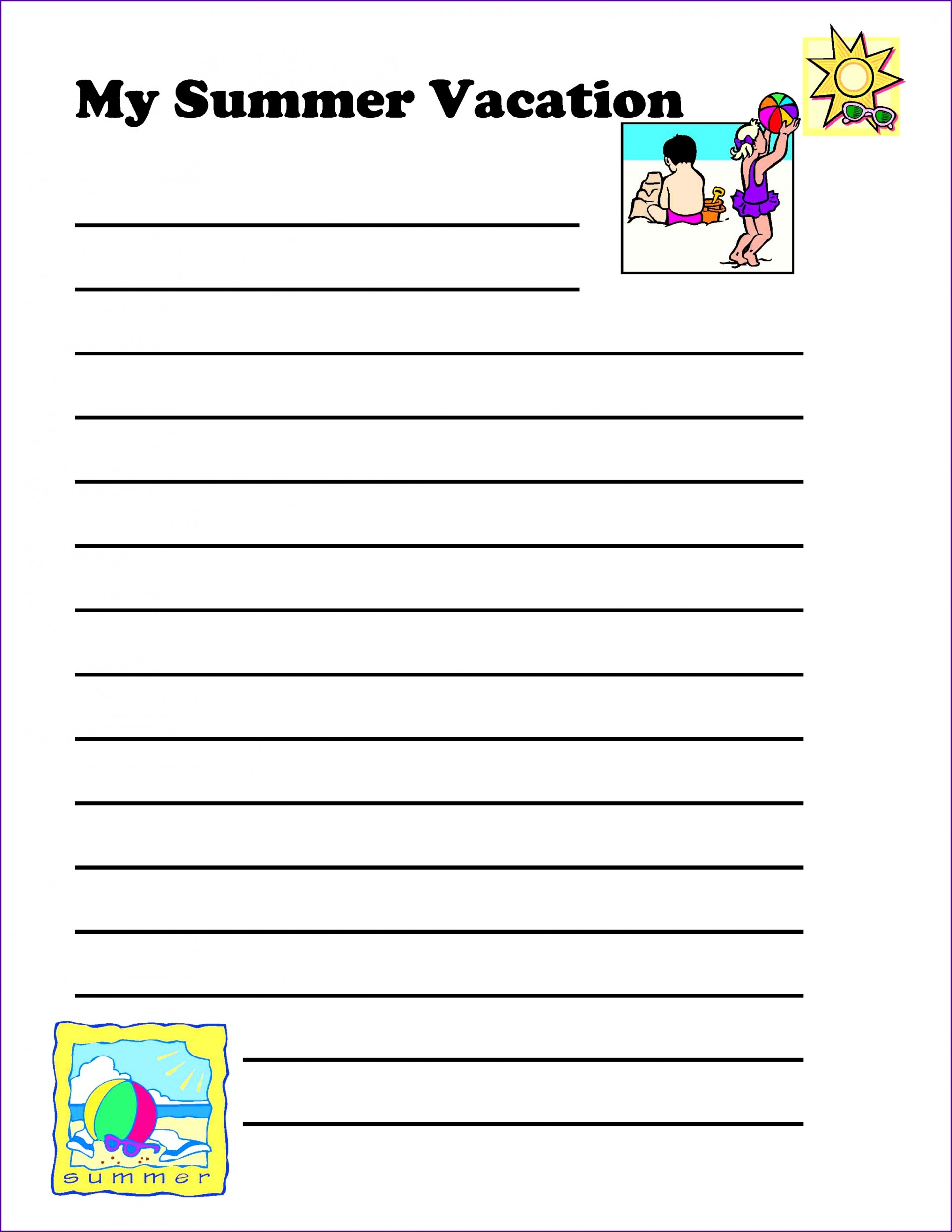 025 Summer Vacation Essay Holiday Planner Template For