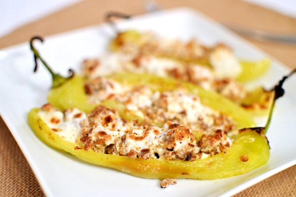 Sausage/Cream Cheese/Mozzarella stuffed Hungarian Wax Peppers | That Square Plate