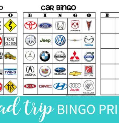 Print your own Free copies of road trip bingo