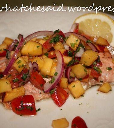 Salmon Recipe with Peach Salsa and Honey Glaze