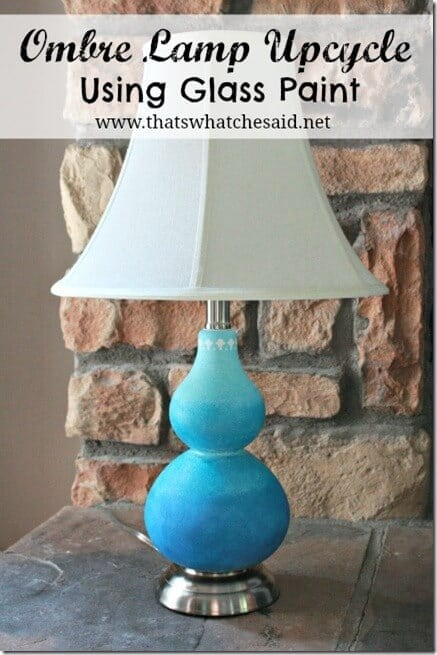 Ombre Painted Glass Lamp with Title