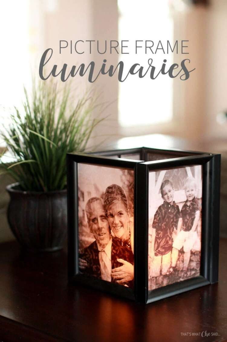 Finished Illuminated Picture Frame Luminary as home decor.