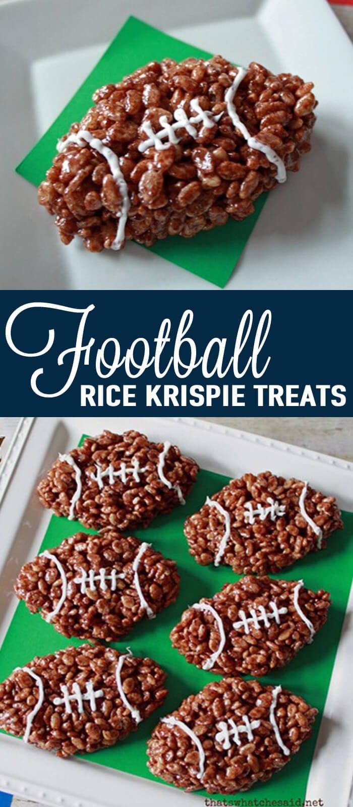 Football Rice Krispy Treats at www.thatswhatchesaid.com
