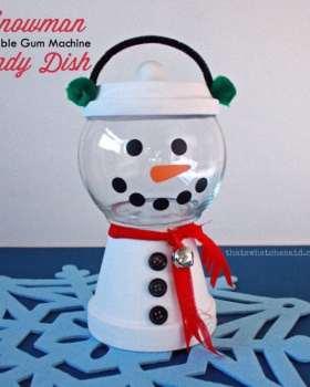 Snowman Clay Pot Candy Dish