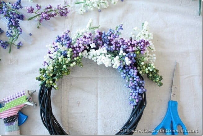Hot Glue Sprigs onto Wreath