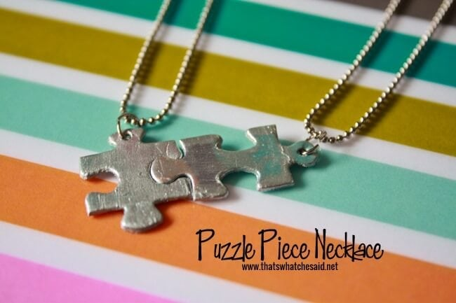 Puzzle Piece Necklace Tutorial at thatswhatchesaid.com