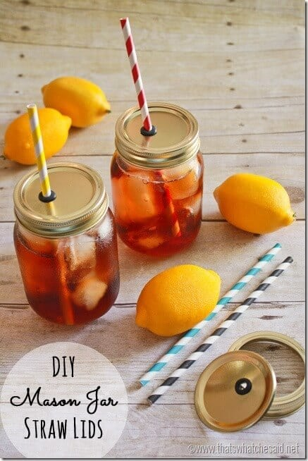 Mason Jar Straw Lids Tutorial. 2 finished jars with lemons and straws in the photo