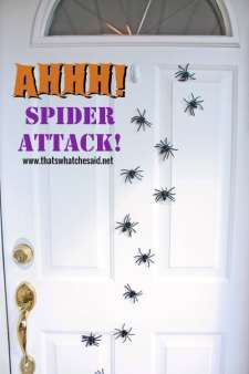Spider Attack! Glue Fake Spiders onto Magnets and place on door!