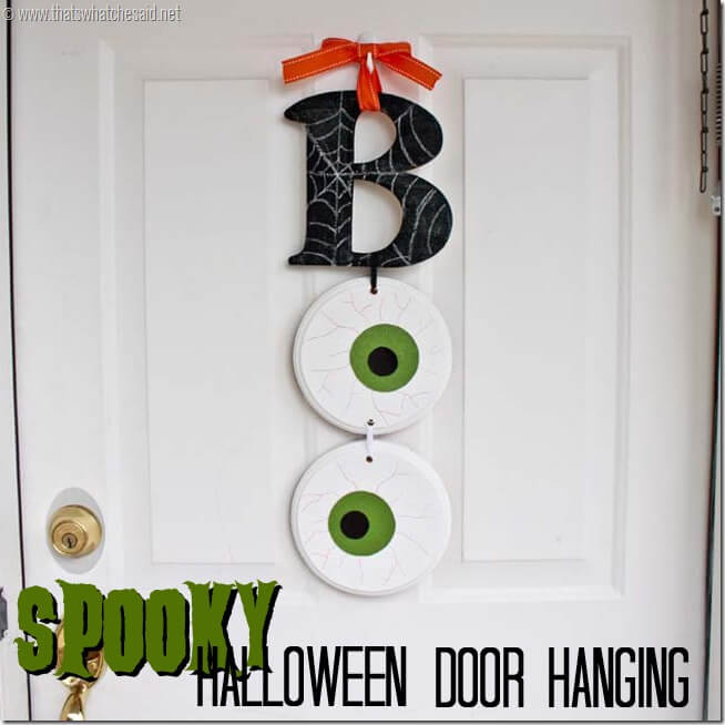 BOO Halloween Sign!  Wooden Letters and shapes turned into a Halloween Wall Hanging