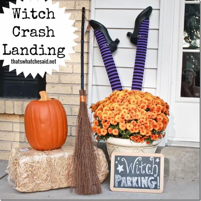 Witch Parking Crash Landing Porch Display