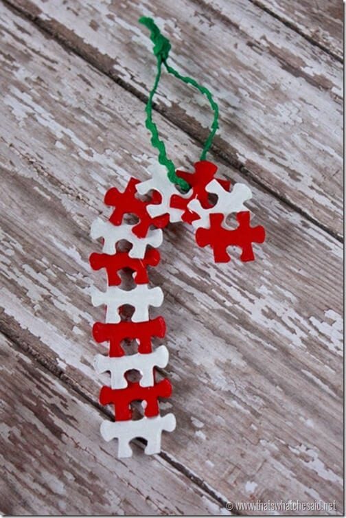 Candy Cane Puzzle Piece Ornament at thatswhatchesaid.net_