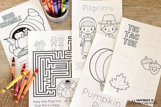 Thanksgiving Kids Coloring and Activity Book Free Printables