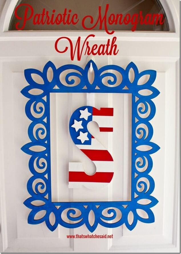 Patriotic Monogram Wreath