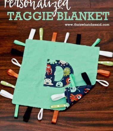 Personalized Double Sided Taggie Blanket Tutorial