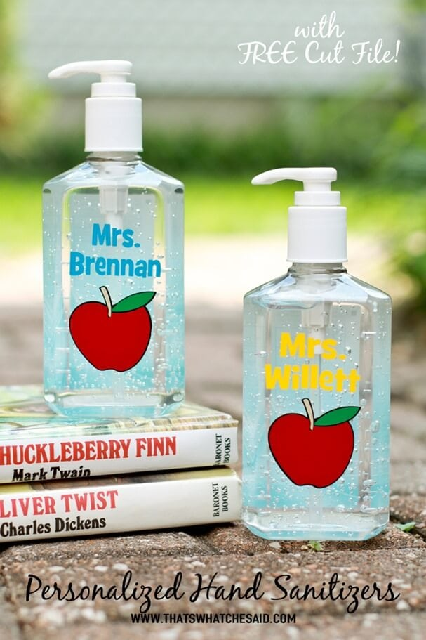 Personalized Hand Sanitizer Teacher Gift + Free Cut File at thatswhatchesaid.com