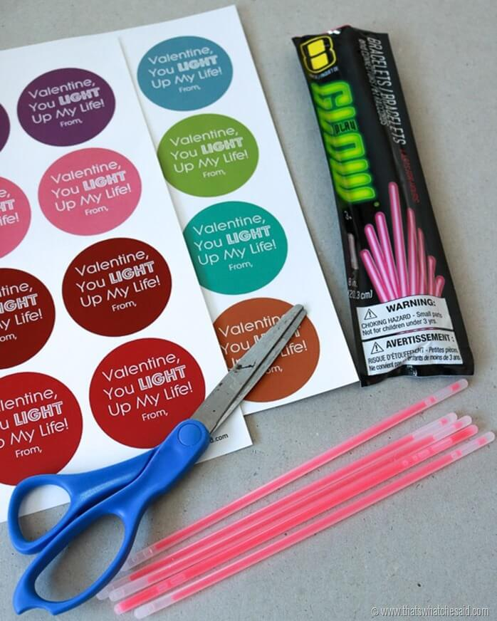 Glow Stick Valentine Non Candy Idea at www.thatswhatchesaid.com