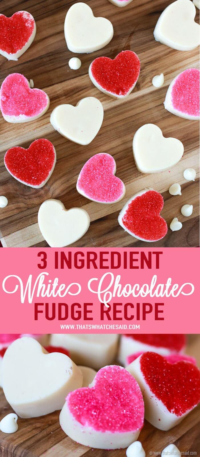 3 Ingredient White Chocolate Fudge Recipe at www.thatswhatchesaid.com
