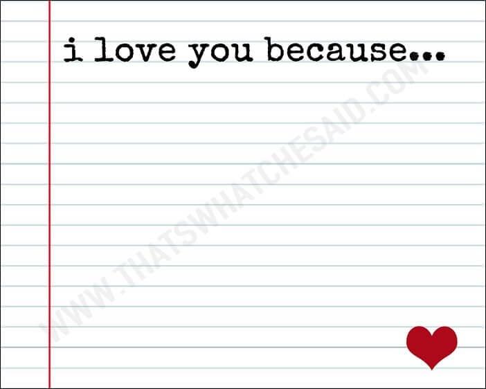 I love you because Free Printable 8 x 10