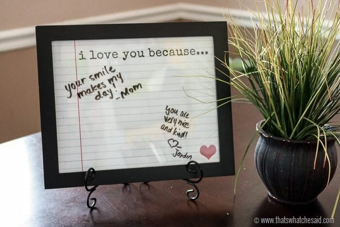 Love Notes Frame + Free Printable! Perfect for a family Valentine activity from www.thatswhatchesaid.com