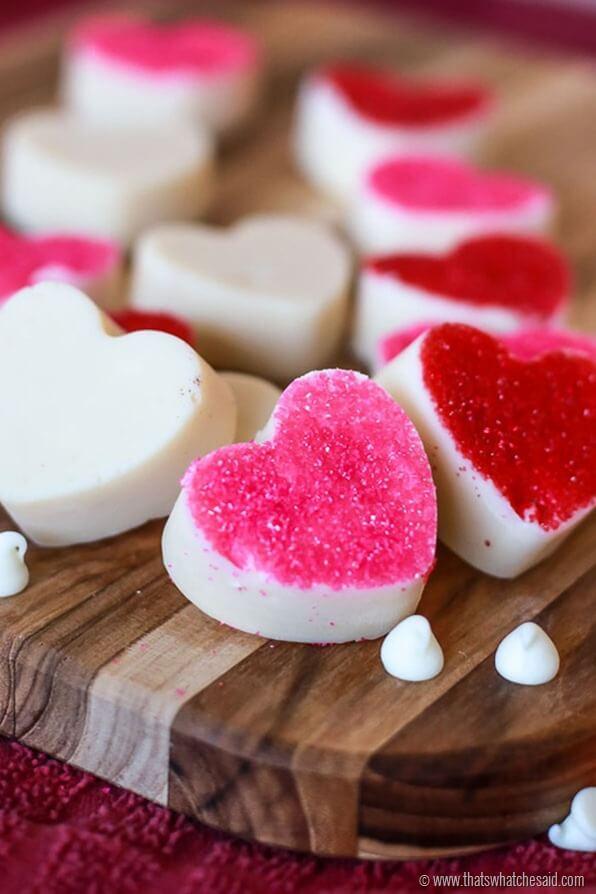 White Chocolate Heart 3 Ingredient Fudge Recipe at www.thatswhatchesaid.com