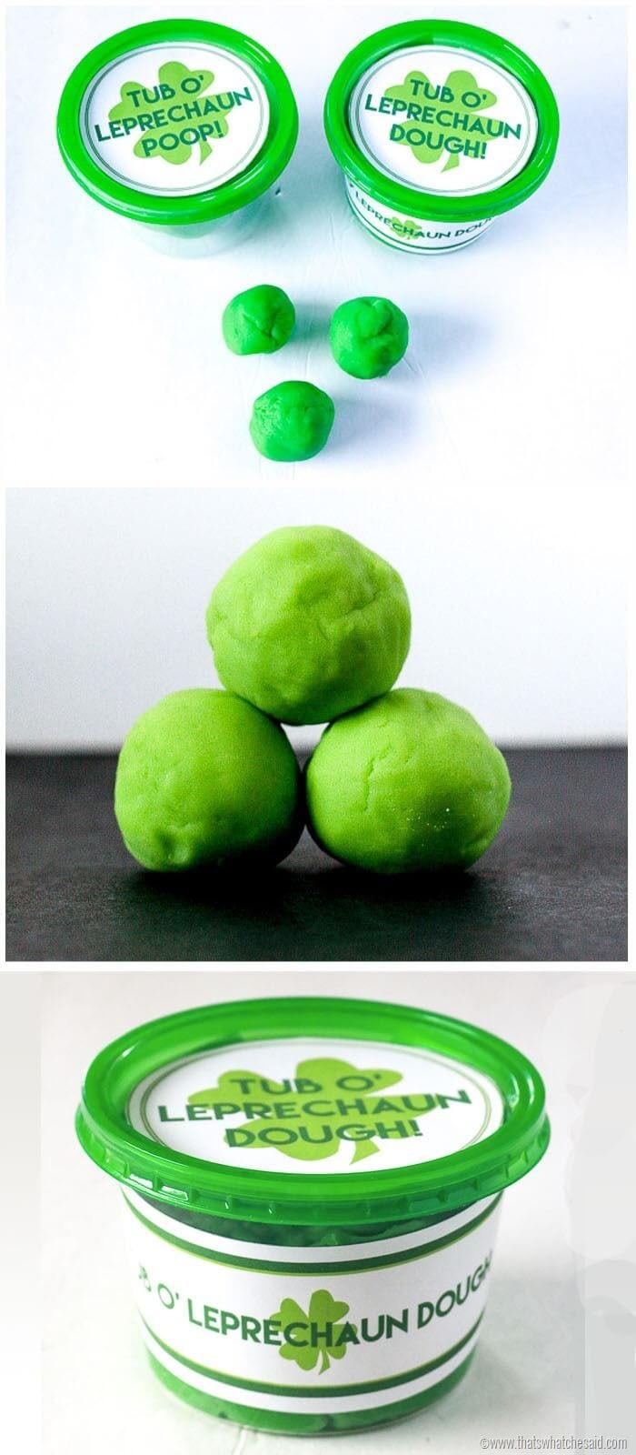 Leprechaun Poop Green Play Dough Recipe   Free Printable