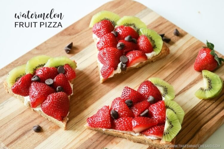 Fun Fruit Pizza made to look like watermelons!