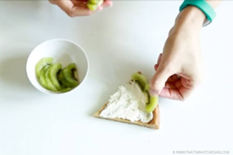 Add slices of kiwi fruit as the watermelon rind