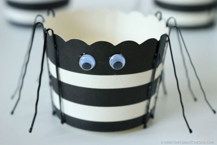 Add Googley Eyes to the treat cup to give spider a face