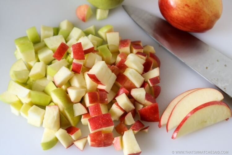 Cut apples in small bite sized pieces to add to fall sangria