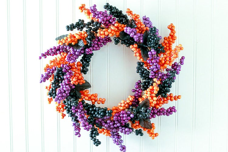 Wreath made from Faux Black, Purple and Orange Berry Floral Sprigs