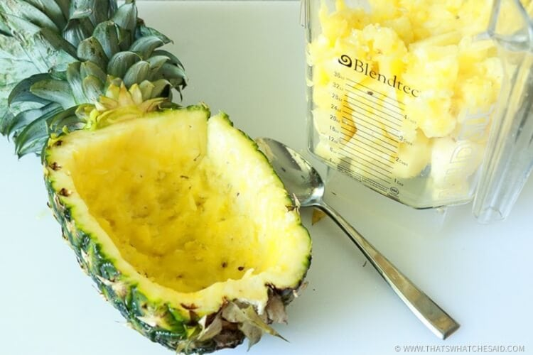 Scoop out Flesh of Pineapple - Keep Shell of Pineapple for serving dish