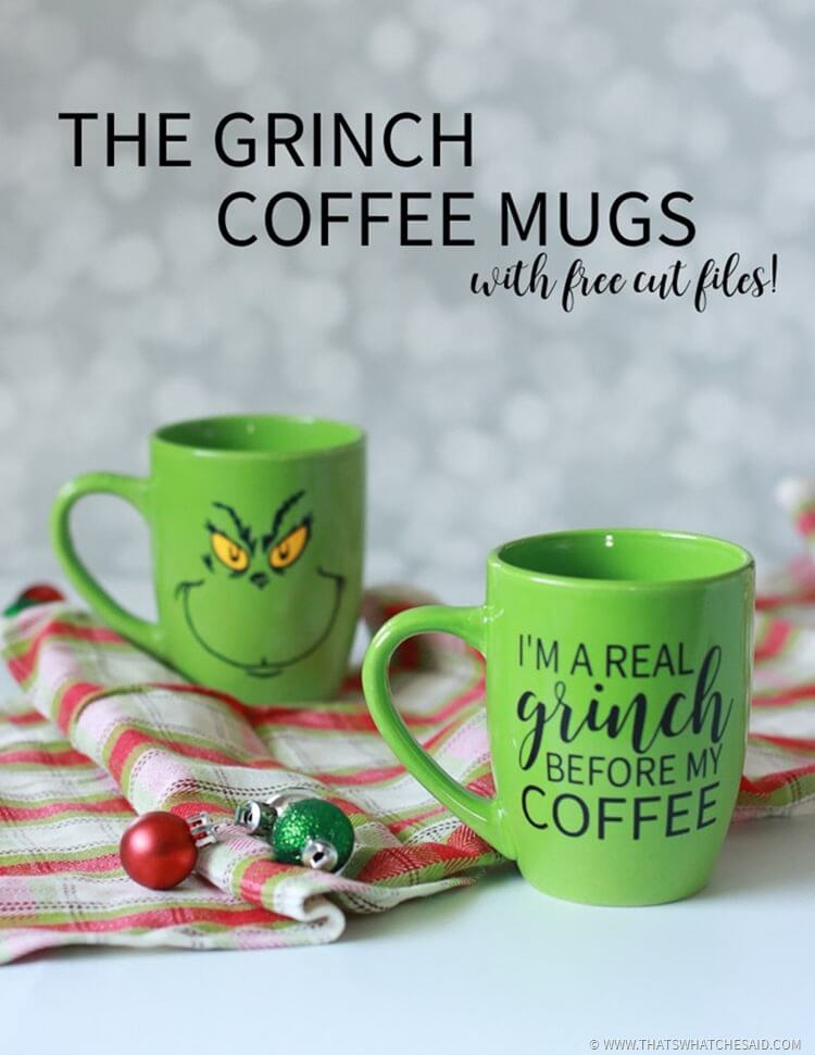 The Grinch Coffee Mugs and Free Cut Files