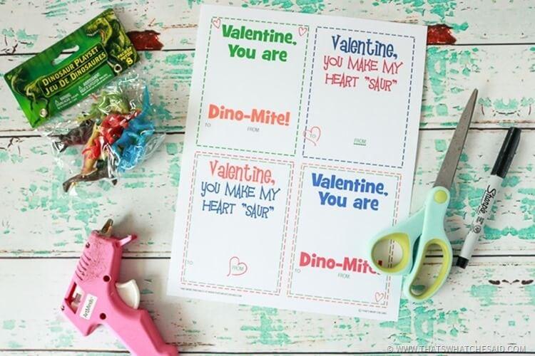 Dinosaur Valentine Card Supplies