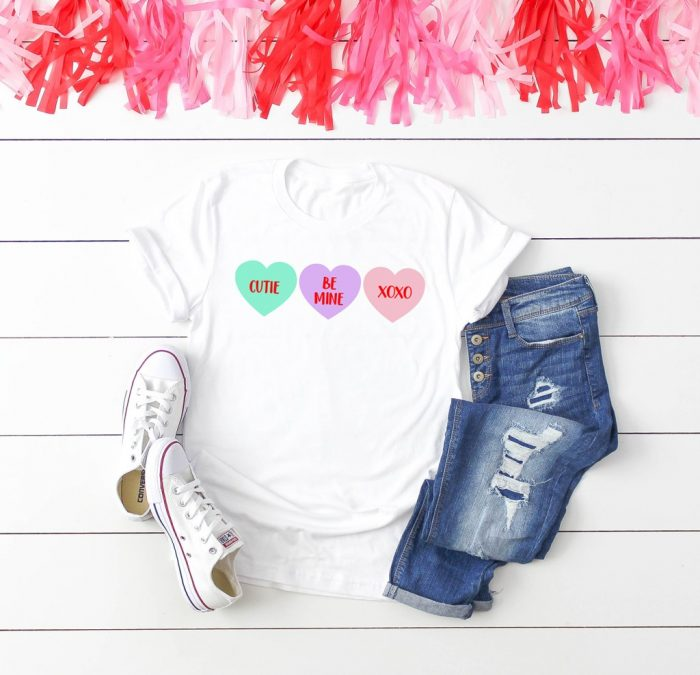 White T with Conversation Heart SVG file in iron-on