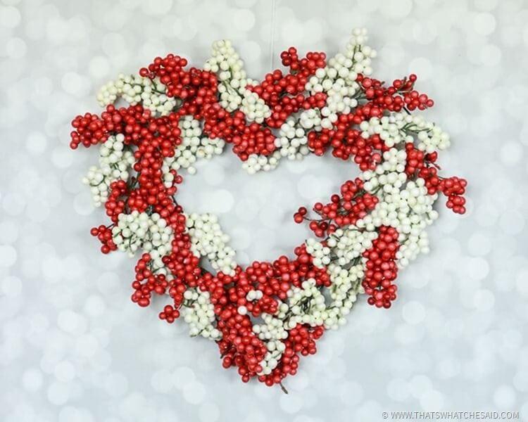 Dollar Store Heart Berry Wreath