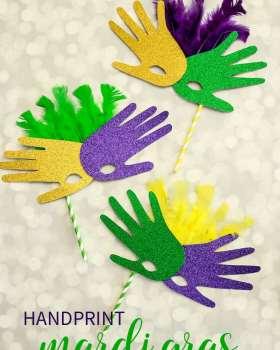 Easy Handprint Mardi Gras Mask