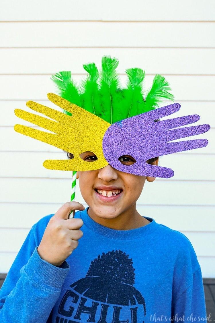 Family Friendly Mardi Gras Handprint Masks