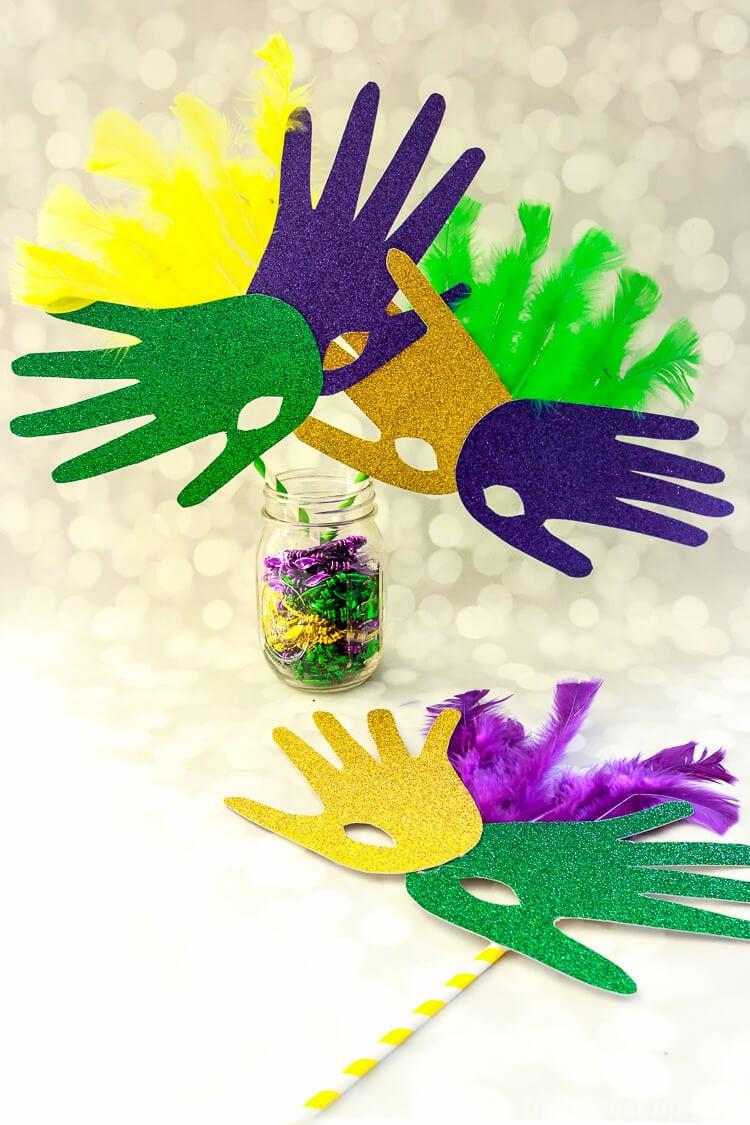 Handprint Mask Mardi Gras Craft Project