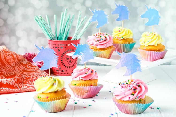 Unicorn Cupcake Toppers + Free Unicorn Cut File