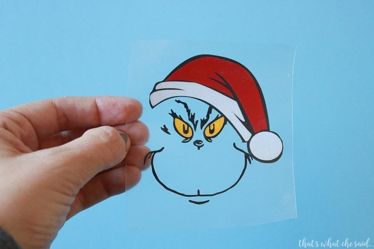 Layered Vinyl for Grinch Ornament